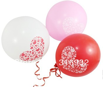 M3 Free shipping, 12 inch heart printed latex balloons, 100pcs/lot