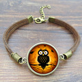 Vintage Owl Glass Bracelets Bangles Antique Brown Rope Charm Bracelets for Women Men Gift