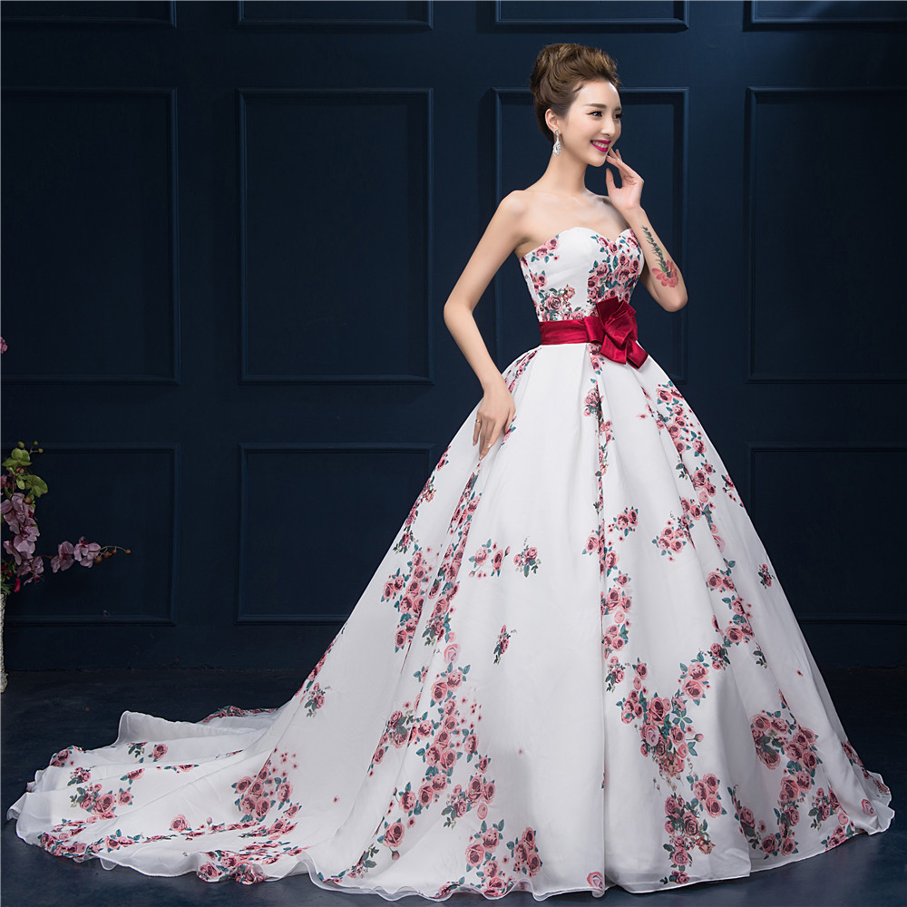 Floral printed ball gown prom dress 2016 sweetheart for Floral print dresses for weddings