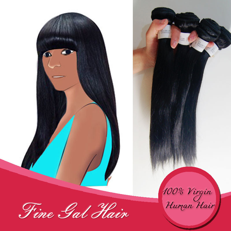 Fine Gal 6A grade Peruvian virgin hair straight great quality human hair weave straight Hair 4pcs a lot can be dye weft hair 6A(China (Mainland))