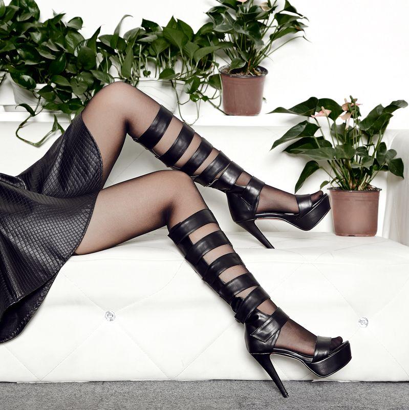 fahion women's Flip Flops high heels ankle strap sandals galligaskins plus size shoes - Smiley's fashion shop store