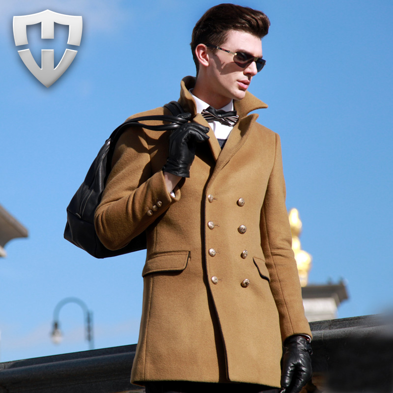 Men's Coat 2016 New Arrival Luxury Brand Men Wool Winter OverCoat High Quality Pure Wool Turn Collar Brown Mens Pea Coat(China (Mainland))