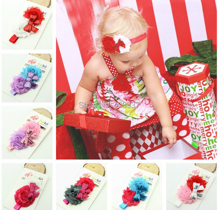 10pcs/lot Christmas present children Baby Infants Decor hair Headband Floral Elastic Band HairBand ,kids girls Photo Pro(China (Mainland))