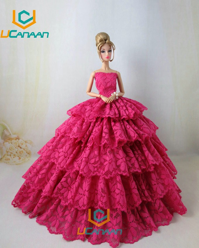 Not Include the Doll ! Ucanaan 1 PC RED Fishtail Costume For Barbie Doll Restricted Assortment Elegant Handmade Costume Garments Presents