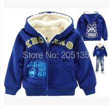 2015 New Brand Children cotton hooded coat baby boys cartoon outerwear winter warm jacket retail blue color 2-7 years(China (Mainland))