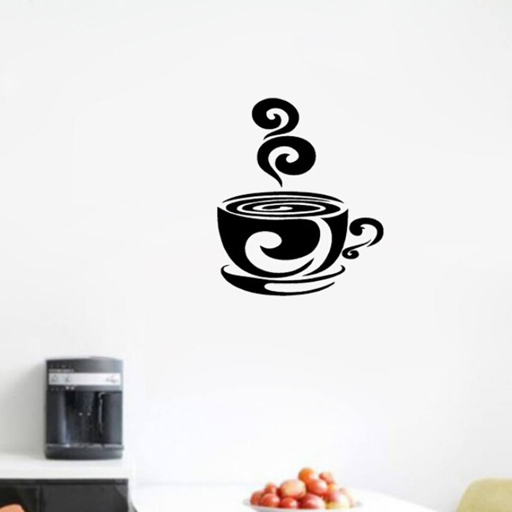 2016 modern design house decoration dinner room wall sticker coffee cup with heart kitchen vinyl wall art decal stickers(China (Mainland))