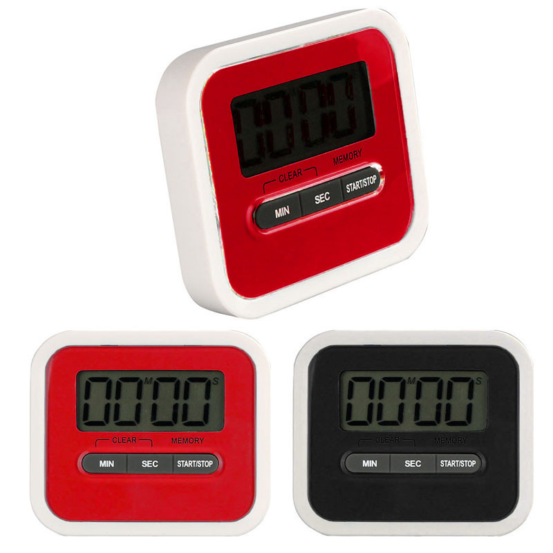 New Large LCD Digital Kitchen Timer Count-Down Up Clock Loud Alarm 100 minutes Black Red(China (Mainland))