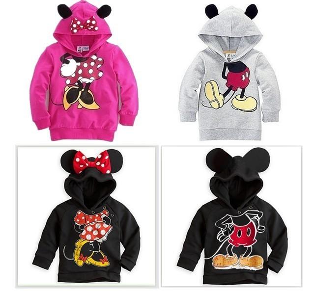 New Arrive Boys Girls Long Sleeve Hoodies Mickey Minnie Cartoon Top Kids Tee Shirts Fit 2-6Yrs 5pcs/lot Free Shipping M8813