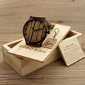 BOBO BIRD Multfunction Calendar Mens Watches Wooden Quartz Watches with Real Leather Strap in Gift Box
