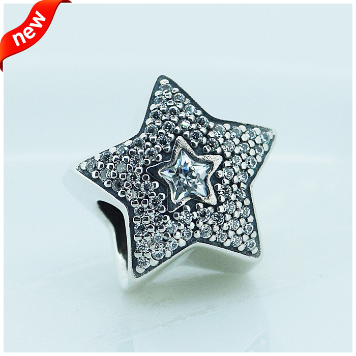 Compatible with Pandora Jewelry 100% 925 Sterling Silver Beads Pave Wishing star cubic zirconia Genuine Charm DIY Making(China (Mainland))
