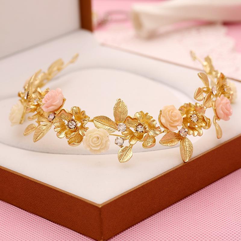140 bridal headdress hair accessories retro matte gold porcelain flower alloy rhinestone bridal accessories bridal jewelry whole(China (Mainland))