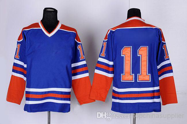 New Arrival Oilers 11 Messier Blue Ice Hockey Jerseys Brand Hockey Jerseys Sportswears Discount Athletic Jerseys Mix Order For F(China (Mainland))