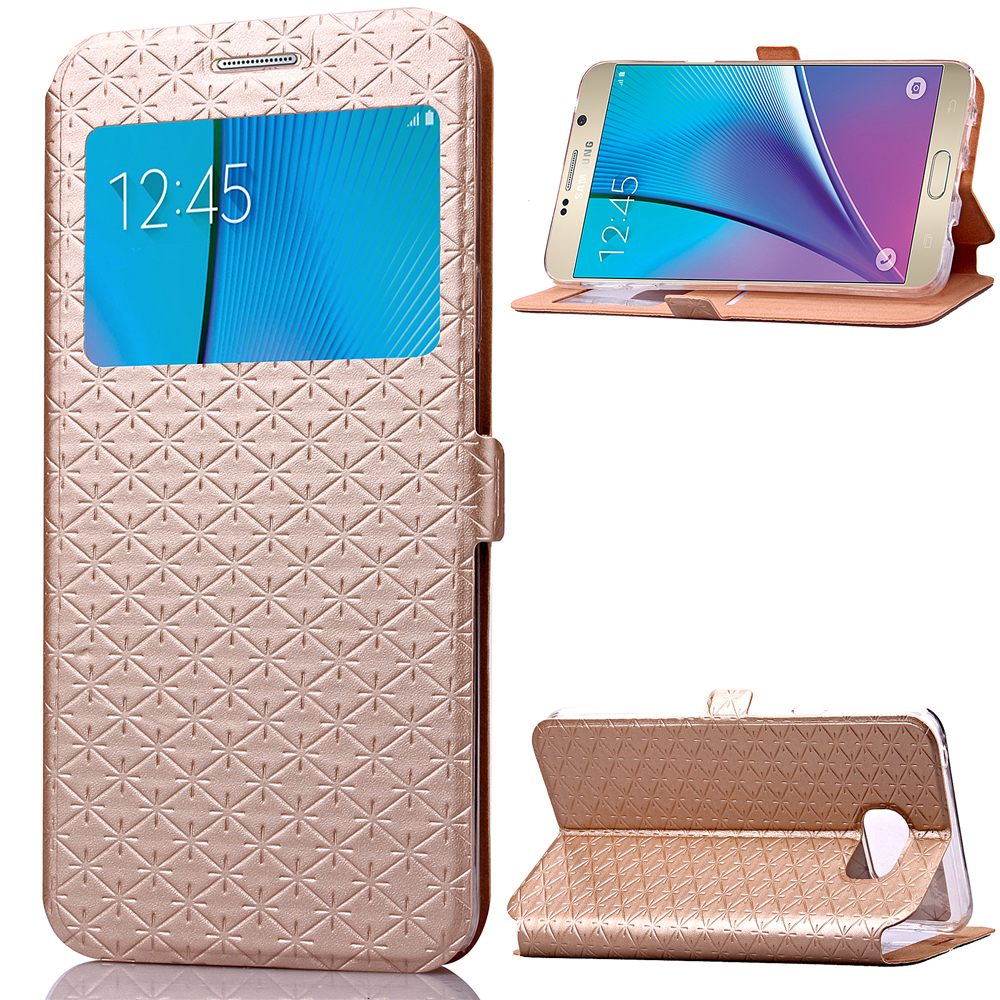 View Window Cases For Samsung Galaxy Note 5 Case Fashion Smart Sleep PU Leather Case Stand Holster Card Holder Note 5 Cover Bag(China (Mainland))