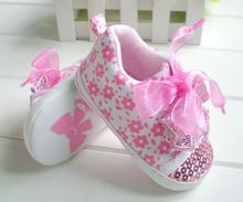 Summer Style pink lace bow infant baby girl shoes sequins first walker  baby shoes(China (Mainland))