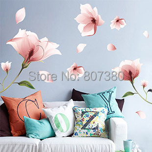 Pink Flower Removable Wall Stickers Houseware Decal Home Decoration - Rose-Jewelry store