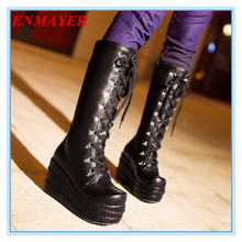 New Gothic punk boots high hee