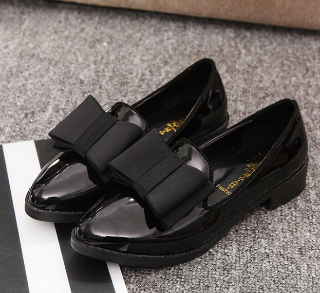 Promotional 2015 Casual Flat Heel Bow Knot Round Toe Slip Black bowknot Loafer Shoes Autumn Comfortable Women - SAR store