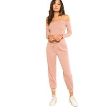 Шеин Для женщин комплект из 2 частей топ и брюки Повседневное женщина набор розовый укороченный топ с открытым плечом Bardot Top и шнурок брюки к...(China)