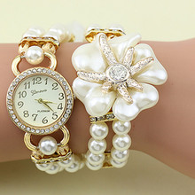 Hot sale luxury with resin white pearl bracelet flower pendant quartz watch women dress watch montre 2015 female feminine clock