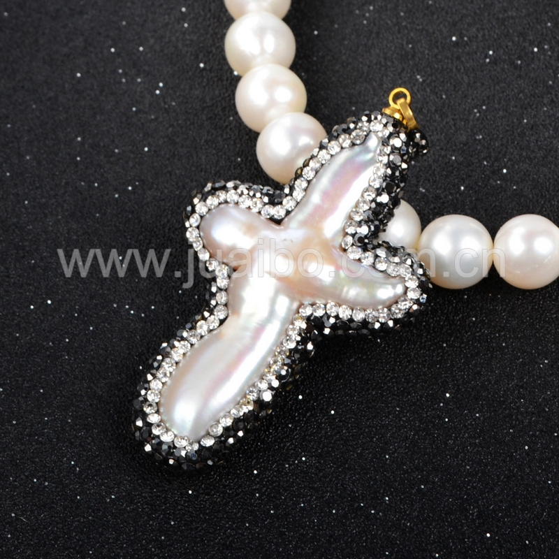 Lowest Price Wholesale Pearl Pendant 100% Natural Pearl Cross With Zircon Pendant Bead JAB031<br><br>Aliexpress
