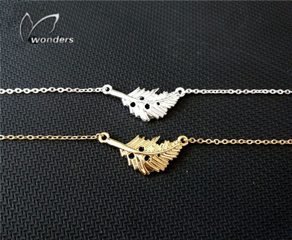 30pcs/lot 2015 Gold/Silver Punk Jewelry Dainty Feather Chain Bracelets for Women Free Shipping<br><br>Aliexpress