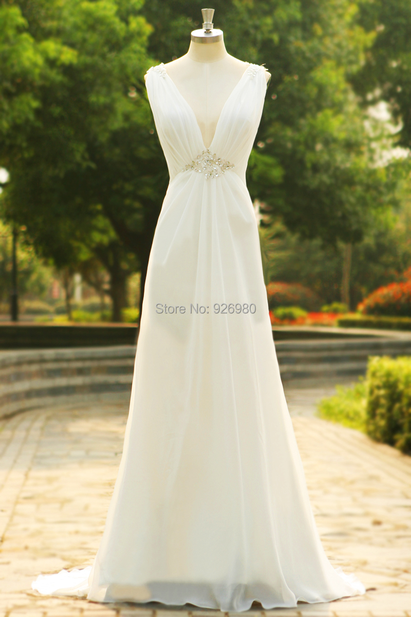 Deep v neck cap sleeve 2015 beach wedding dresses backless for Backless beach wedding dresses