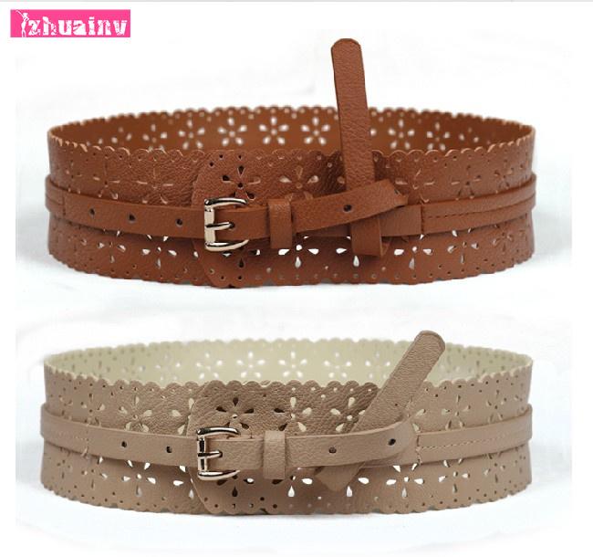 2015 new Slim hollow girdle retro pin buckle wide belt women's belt women's essential decorative belt Ms.(China (Mainland))