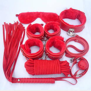 7 Pcs Sexy Product Set Toys Suit Hand cuffs For Sex Footcuff Queen Consume Sex Product Whip Rope Blindfold 3 Colors PU Leather(China (Mainland))