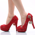 Handmade Wedding Shoes Red Pearl and Rhinestone Bride Shoes Round Toe Platform Women Party Prom High