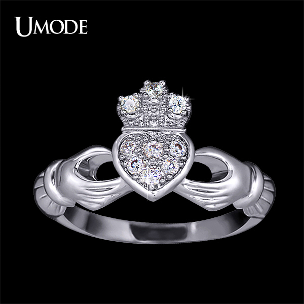 UMODE 2015 Christmas Gift Love Design Crown Hand Heart Clah-Duh Claddagh Ring For Women UR0127(China (Mainland))