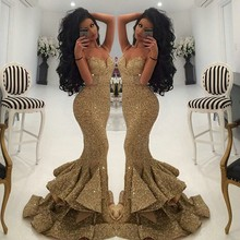 Prom Dresses Gold Evening Dresses Sequined Sexy Spaghetti Straps Long Mermaid Evening Gowns Front Slit Ruffles robe de soiree(China (Mainland))