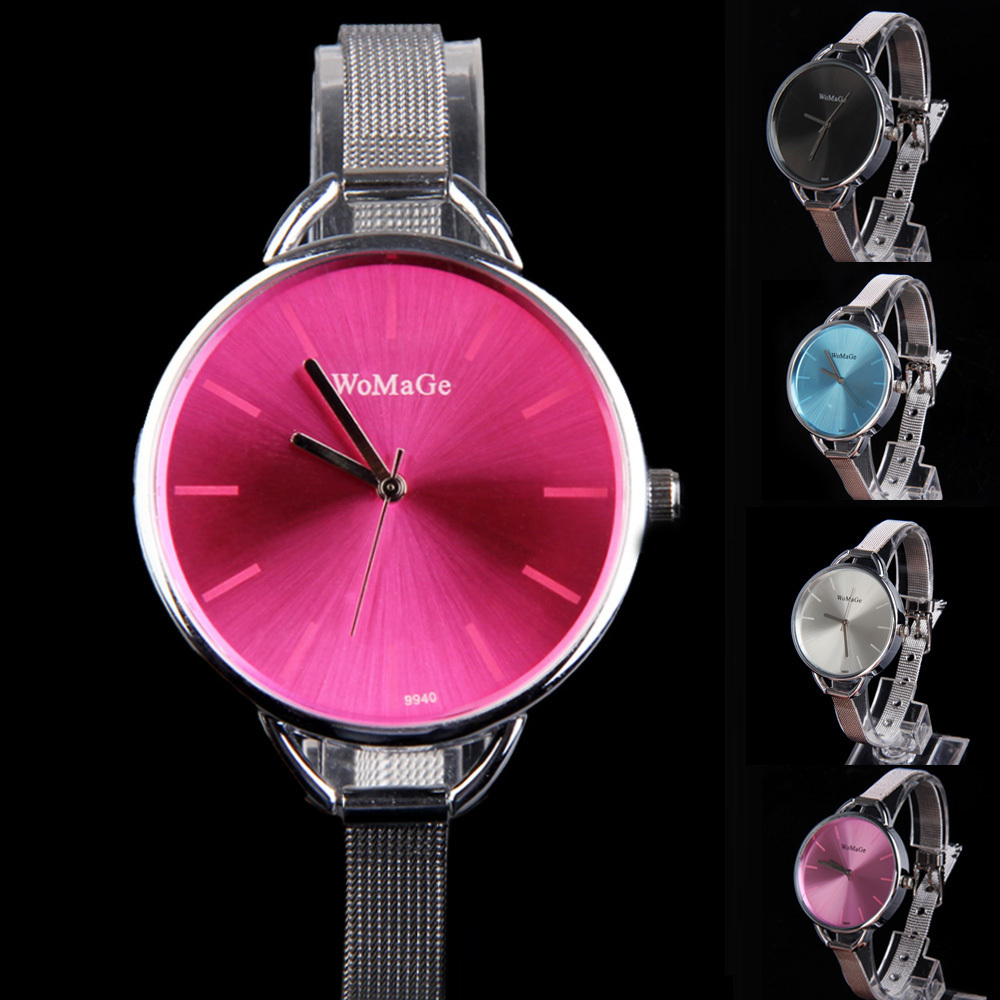 New Sketchy Oversize Bezel Fashion Lady Watch with Stainless Steel Narrow Band Free Shipping