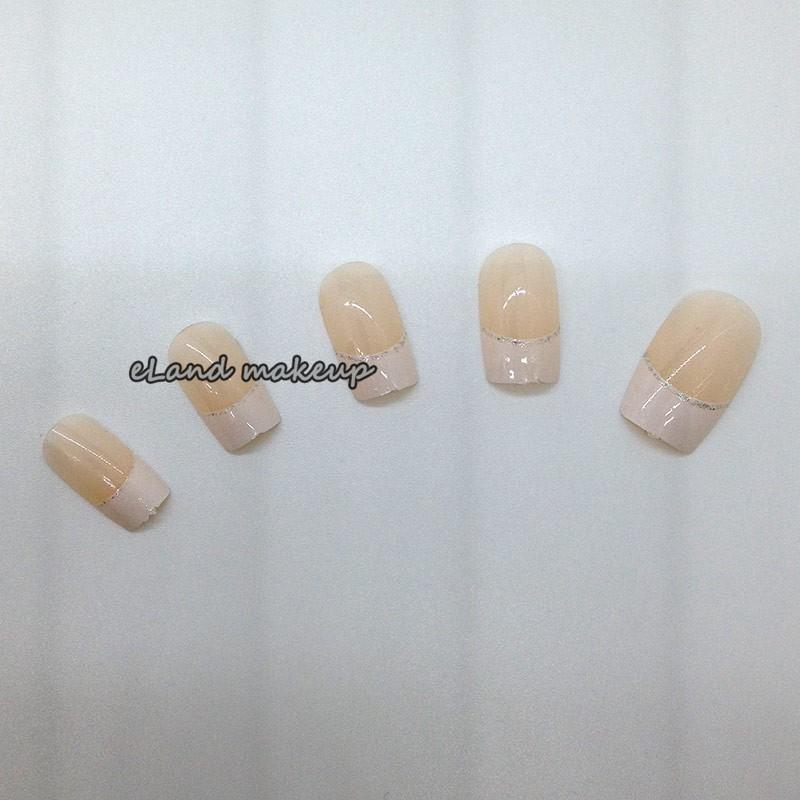 12PCS Natural Color Decoration Fashion Nail Art French False Fake Nail Tips With Free Adhesion nail glue QL010 free shipping(China (Mainland))