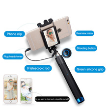 Brand New Super Mini 2015 Nova Extensivel Self Selfie Stick Monopod Cable Holder for iPhone Android smartphone monopod mirror(China (Mainland))