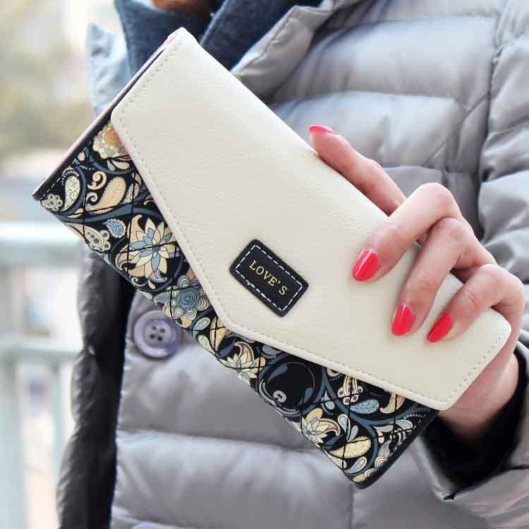 Neon Color Women Wallet Fashion Floral Wallets Vintage Clutch PU Leather Card Holder Handbag Carteira Feminina Wallet(China (Mainland))