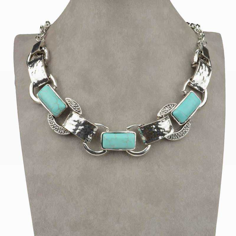 High Quality Women Jewelry Fashion Collar Necklace For Women Tibet Silver Bib Collar Natural Turquoise Tennis Bib Necklace(China (Mainland))