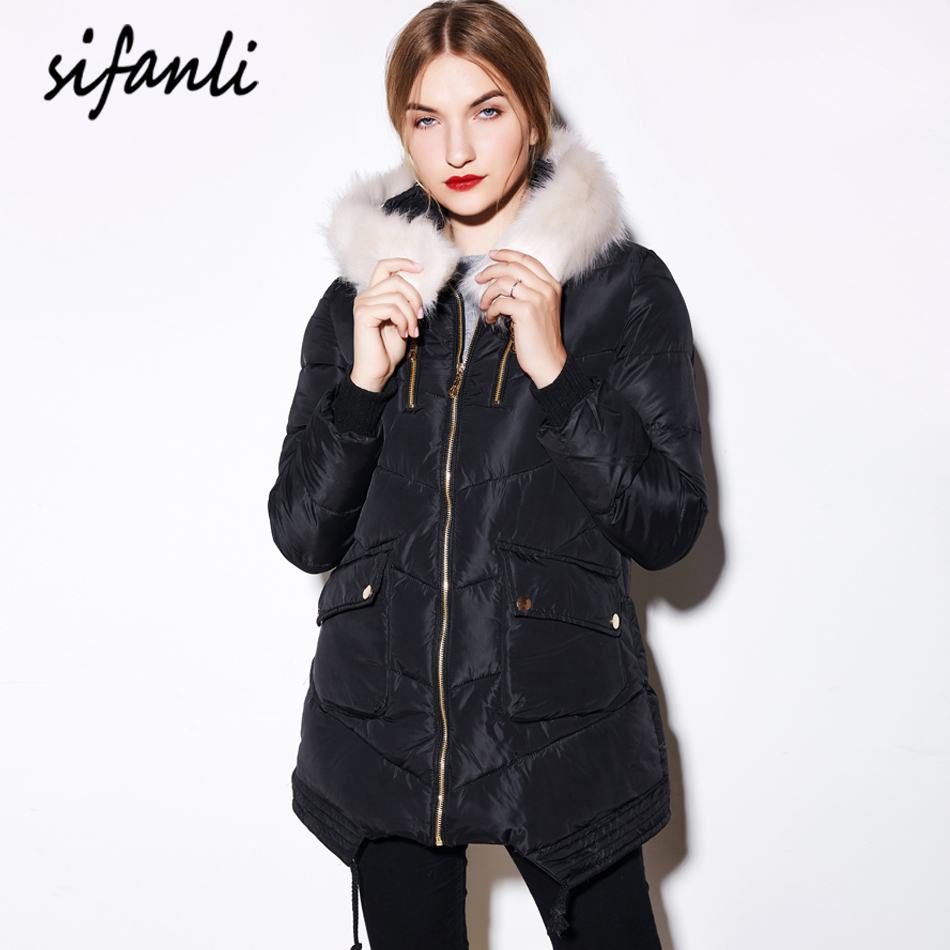 SIFANLI 2016 Winter Women Coat Outerwear Long Wadded Jackets Thick Hooded Cotton-Padded Jacket Warm fur Collar Parka(China (Mainland))