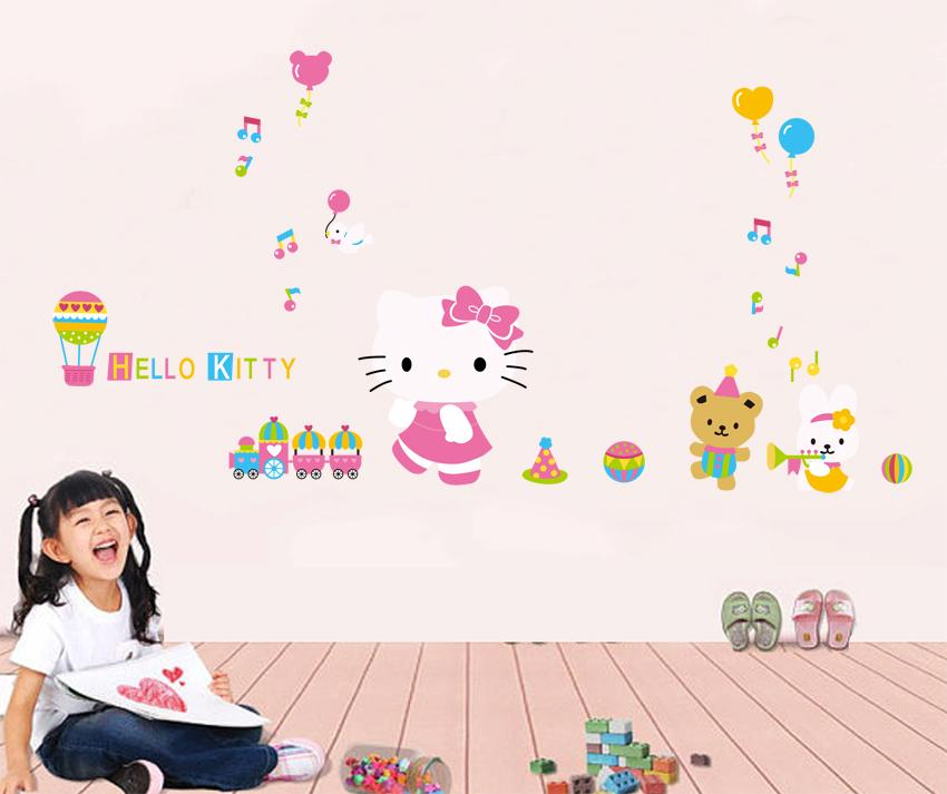 Two Designs Hello Kitty Train Hot Air Balloons Wall