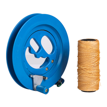 Round Blue Plastic ABS 16cm Kite Reel Winder with 150m Line Connector
