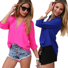 New 2016 Spring Summer Europe Blouses Fashion Long Sleeve Chiffon Lady Office Shirts Casual V-Neck Royal Blue Blouse Tops
