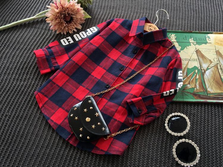 New 2016 Girls Autumn Shirt Kids Blouse Kids Letter Shirt Children Fashion Green Red  Plaid Shirt Baby Cotton Shirt, 2-7Y