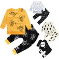 0 2Y Newborn Baby Boy Clothes Cotton Sleepwear long sleeves T shirts pants Enfant 2pcs Suit