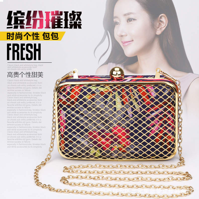2015 spring and summer wholesale iron mesh cloth Mini hand hand grip Shoulder Messenger Bag evening dinner(China (Mainland))