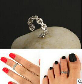 nj40 Wholesale Celebrity Fashion Simple Sliver Plated Retro Carved Flower Toe Ring Foot Jewelry(China (Mainland))