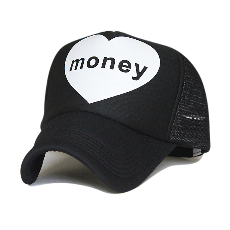 LOVE MONEY mesh hat heart baseball cap letter pattern summer snapback hat outdoor breathable hip hop autumn mesh truck hat(China (Mainland))