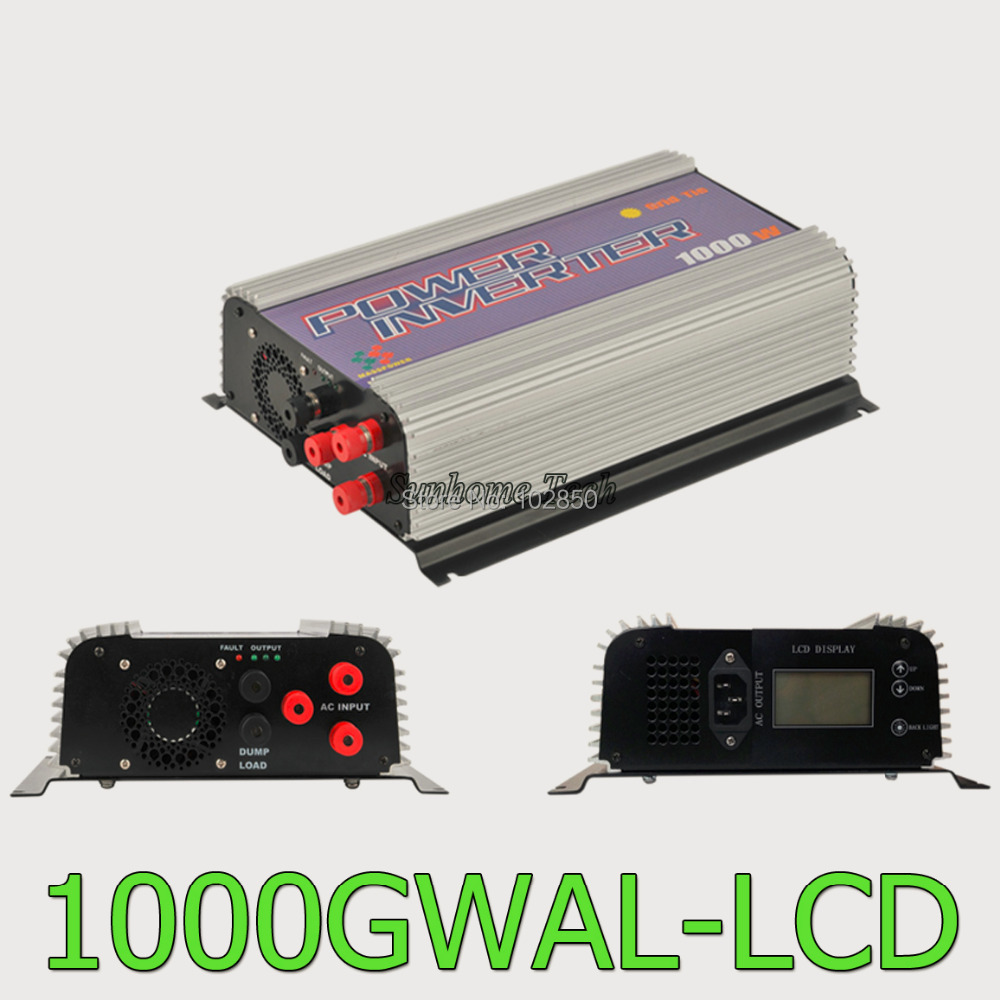 1000W LCD wind grid tie inverter with dump load,MPPT pure sine wave on grid inverter for 3phase AC wined turbine 22-60/45-90V(China (Mainland))