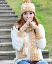 Korean Fashion Snow Patterns Scarf Set for Women Winter Hats Scarves and Gloves Three Pieces Sets Women's Hats(China (Mainland))