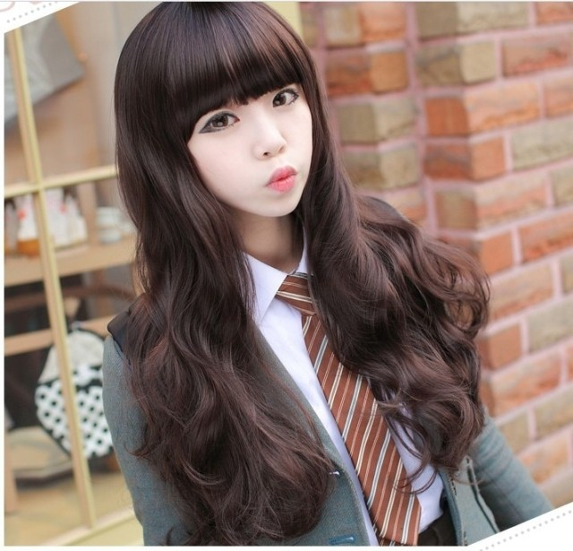 Sweet women's long curly hair big wave wig black shallow brown fluffy fake hair bag