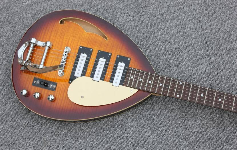 VINTAGE SUNBURST VOX Tear Drop style hollow body guitar 3xSC Pickups Bigsby style tail piece Free shipping direct from factory(China (Mainland))