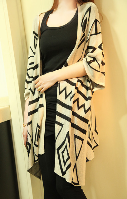 FREE SHIPPING 2013 spring fashion geometry loose cardigan outerwear